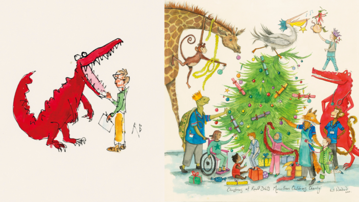 L - Sir Quentin Blake illustration R - Emily Woodard design