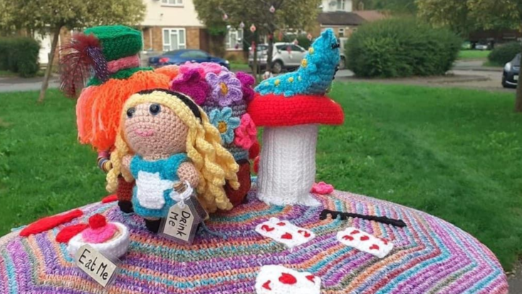 photo of knitted scene from Alice in Wonderland