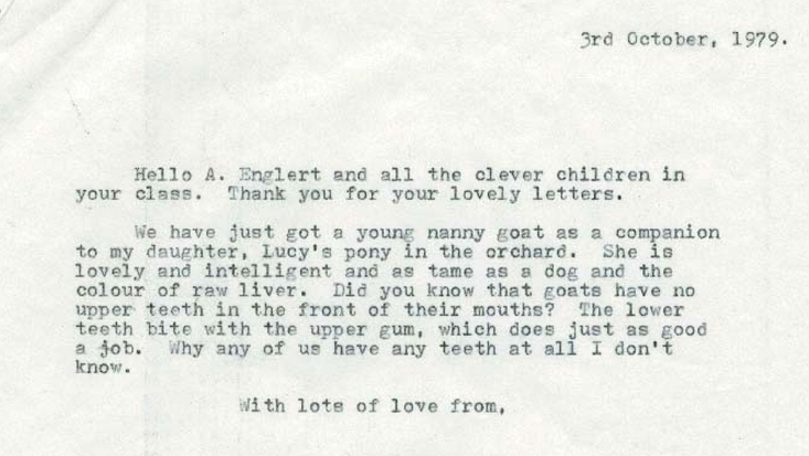 Letter from Roald Dahl, 3 October 1979