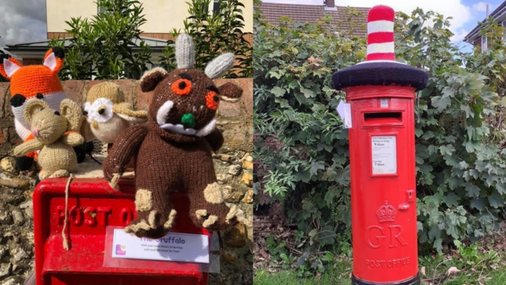 photo of knitted Gruffalo and Cat in the Hat