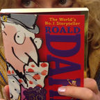 Andrea from Puffin Books with her copy of Charlie and the Chocolate Factory