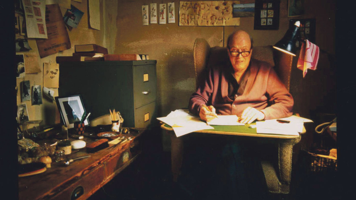 Roald Dahl sitting in his Writing Hut