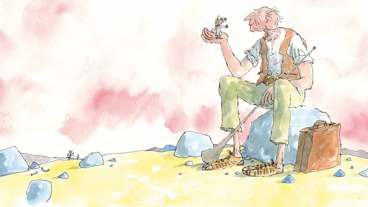 The BFG and Sophie, from Roald Dahl's The BFG, illustrated by Sir Quentin Blake