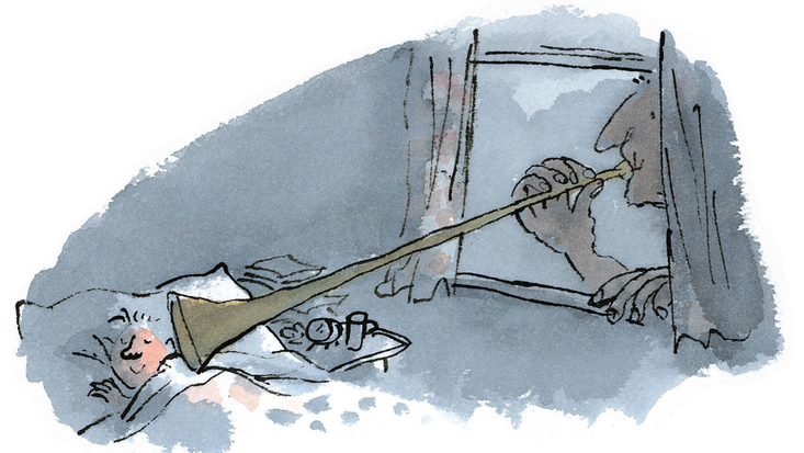 The BFG blows a dream through a child's bedroom window. From Roald Dahl's The BFG, illustrated by Quentin Blake