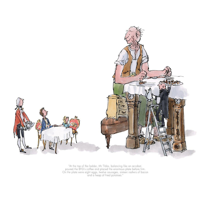 The BFG and Queen limited edtion Roald Dahl Print