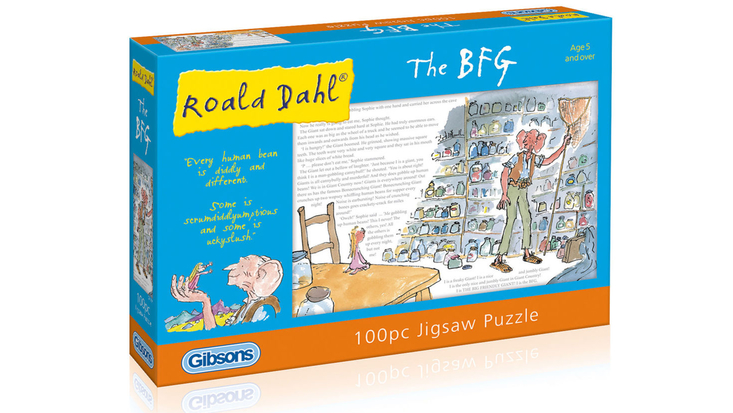 100 pc jigsaw puzzle featuring Roald Dahl's The BFG, illustrated by Quentin Blake