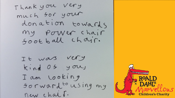 Thank you letter from a child