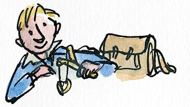 Roald Dahl as a schoolboy, illustrated by Sir Quentin Blake for Boy: Tales of Childhood