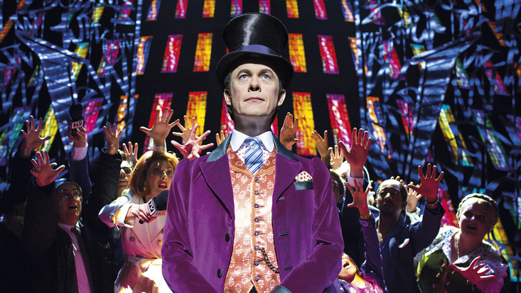 Alex Jennings as Willy Wonka in the new musical production of Charlie and the Chocolate Factory. Photo c. Helen Maybanks.