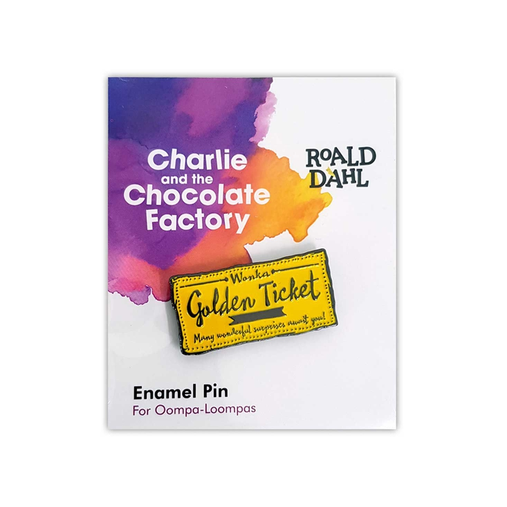 Enamel pin badge based on Roald Dahl's Charlie and the Chocoalte Factory