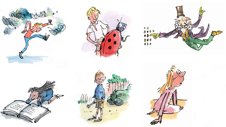 A selection of Roald Dahl images illustrated by Sir Quentin Blake