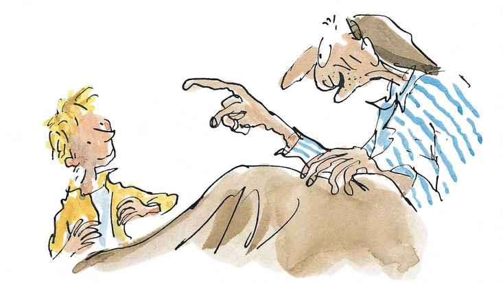 Charlie Bucket and Grandpa Joe, from Roald Dahl's Charlie and the Chocolate Factory, illustrated by Sir Quentin Blake