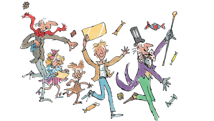 Grandpa Joe with Charlie, Willy Wonka and Veruca Salt illustrated by Quentin Blake, from Roald Dahl's Charlie and the Chocolate Factory