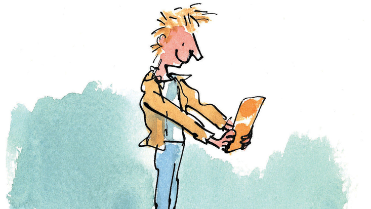 Charlie Bucket with his Golden Ticket, illustrated by Quentin Blake