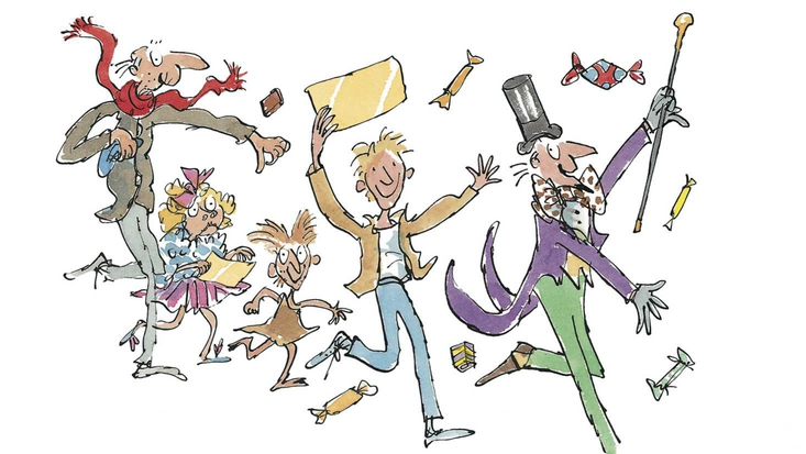 Characters from Roald Dahl's Charlie and the Chocolate Factory, illustrated by Sir Quentin Blake