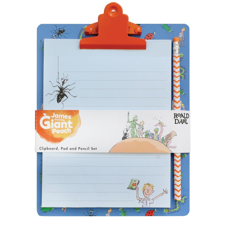 Roald Dahl's James and the Giant Peach clipboard, pad and pencil set