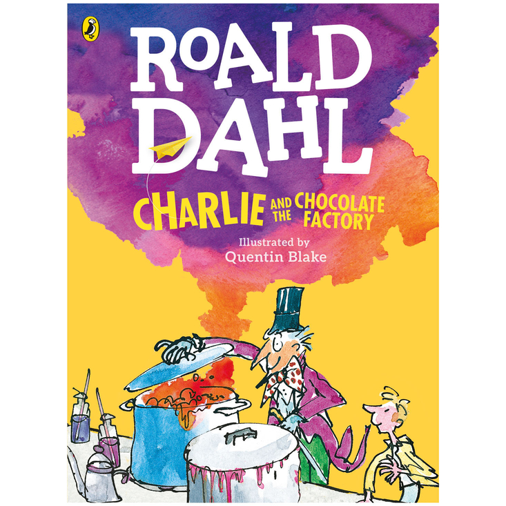 large colour paperback book of Roald Dahl's Charlie and the Chocolate Factory