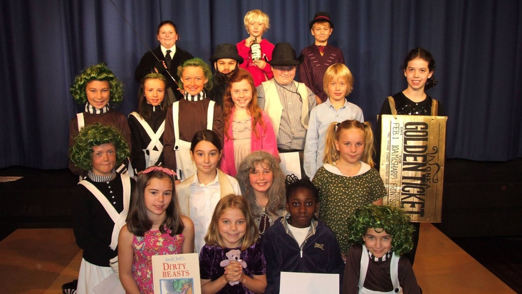 class dressed up in Roald Dahl character costumes