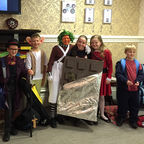 children and teachers dressed up as Roald Dahl characters