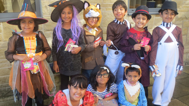 Children dressed up for Dahlicious Dress Up Day