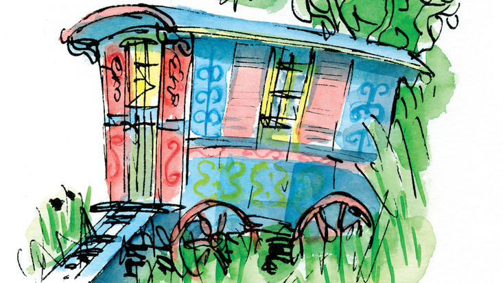 The caravan from Roald Dahl's Danny, the Champion of the World, as illustrated by Sir Quentin Blake