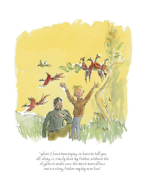 Limited edition Danny the Champion of the World print featuring Quentin Blake's illustrations of Roald Dahl's characters