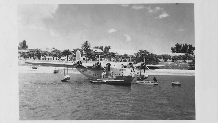 Flying boat in Dar-es-Salaam harbour by Roald Dahl, 1938