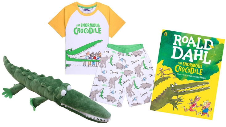 Enormous Crocodile soft toy, pyjamas and large colour book