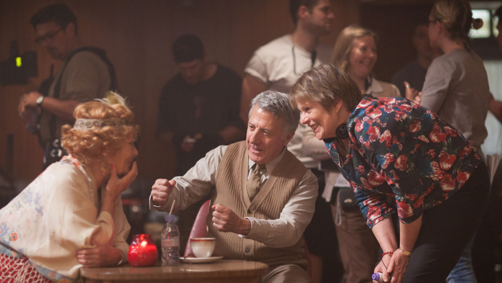 Dustin Hoffman and Judi Dench with producer Hilary Bevan Jones, behind the scenes on Roald Dahl's Esio Trot, to be screened on BBC One Christmas 2014. Photo: Nick Briggs © 2014 Endor Productions
