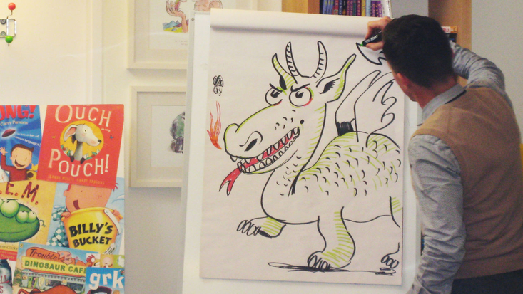 Garry Parsons Drawing at the Roald Dahl Museum