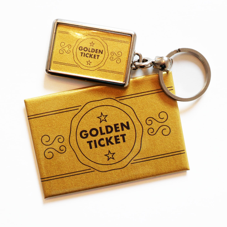 Golden Ticket keyring and magnet