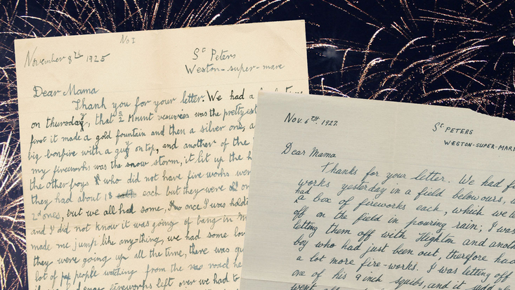 Letters from Roald Dahl with firework background