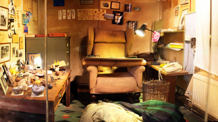 Inside Roald Dahl's Writing Hut in the Roald Dahl Museum, Great Missenden