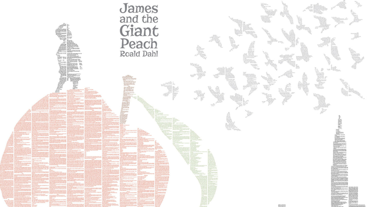 Spineless Classics print of Roald Dahl's James and the Giant Peach