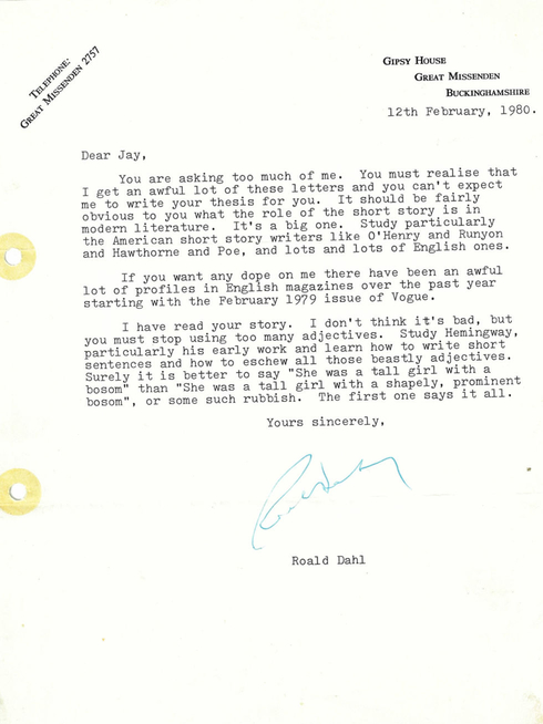 Roald Dahl's letter to Jay Williams on short story writing tips