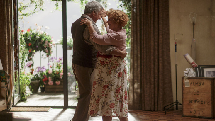 Dustin Hoffman as Mr Hoppy and Judi Dench as Mrs Silver, dancing on the set of Roald Dahl's Esio Trot, produced by Endor Productions. To be screened on 1 January 2015 at 6.30pm on BBC One.