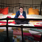 Roald Dahl's grandson Luke Kelly on the Imagine Festival's Giant Storytelling Bed, image c.  Filipa Esteves