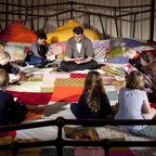Roald Dahl's grandson Luke Kelly reads to children from Dyslexia Action, image c.  Filipa Esteves