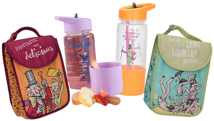 Selection of Roald Dahl lunchboxes and waterbottles
