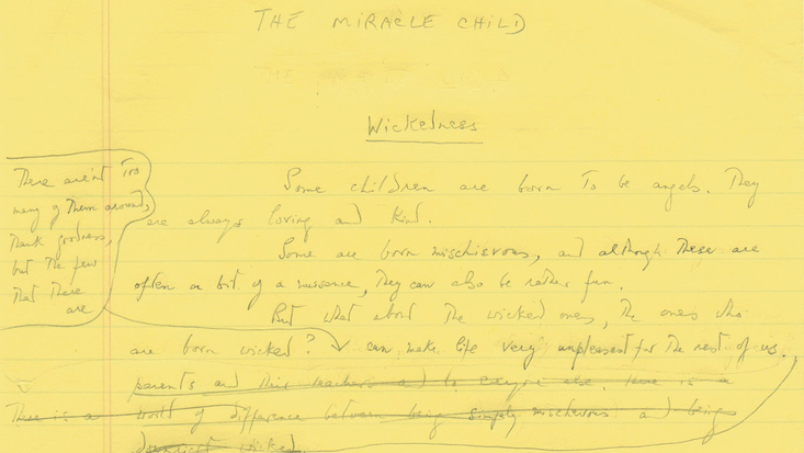 A section from an early draft of Roald Dahl's Matilda. Image courtesy of the Roald Dahl Museum and Story Centre. C. RDNL.