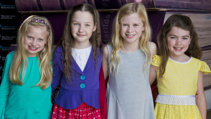 (L - R) Georgia Taplin, Bella Thomas, Sasha Rose and Molly Barwick will play Matilda in the Australian production Roald Dahl's Matilda The Musical, created by the RSC. Picture: James Morgan.