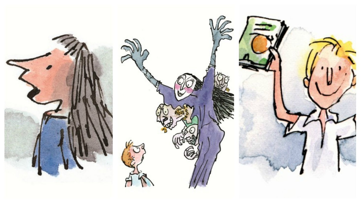 Matilda Wormwood from Matilda, The Grand High Witch from The Witches, and James from James and the Giant Peach. All illustrated by Sir Quentin Blake for Roald Dahl stories.