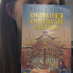 Nicola from Roald Dahl HQ with her copy of Charlie and the Chocolate Factory