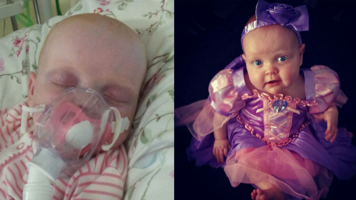 Mia in hospital and Mia dressed as a princess