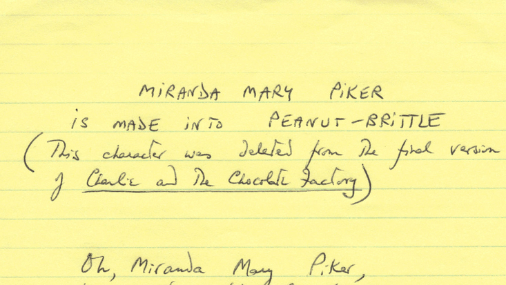Miranda Mary Piker poem, from an early draft of Roald Dahl's Charlie and the Chocolate Factory. C. RDNL