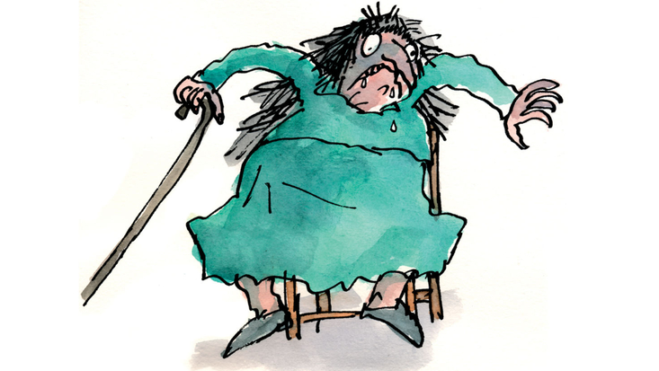 Mrs Twit from Roald Dahl's The Twits, illustrated by Quentin Blake