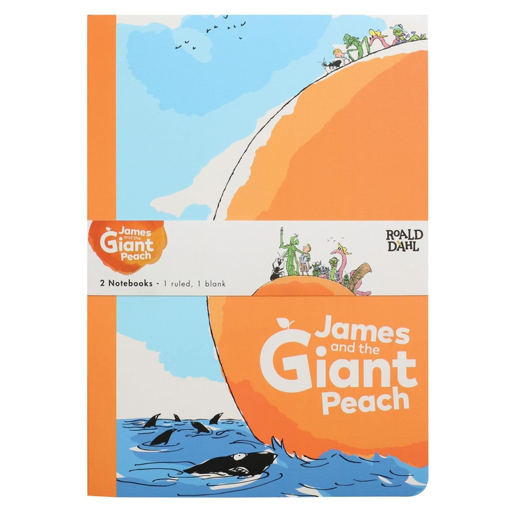 Set of two notebooks based on Roald Dahl's Jame and the Giant Peach
