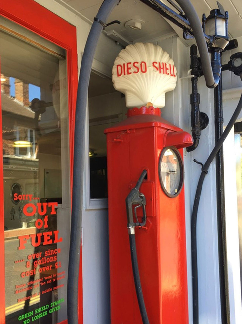 Old fashioned Shell petrol pumps
