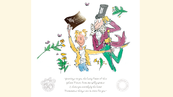 50th anniversary Charlie and the Chocolate Factory print, illustrated by Quentin Blake and featuing Roald Dahl's much-loved characters - Charlie Bucket and Willy Wonka