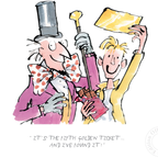 Charlie and the Chocolate Factory print, illustrated by Quentin Blake and featuing Roald Dahl's much-loved characters - Charlie Bucket and Willy Wonka